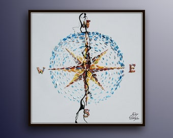 """Compass painting 35"""" Original oil painting on canvas , gift idea, office painting, gift for husband, oil painting by Koby Feldmos"""