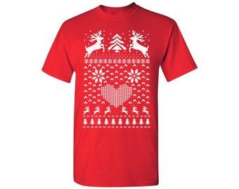 Christmas Deer Shirt Ugly Christmas t-shirt Christmas tshirts for men Ugly Christmas Shirt Mens Holiday Tee holiday top Christmas Gift