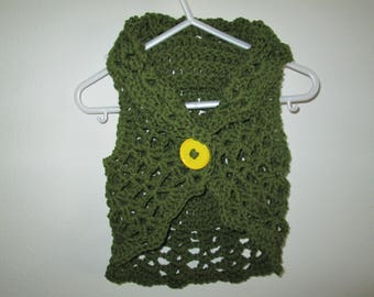 Green Baby Girl Sweater Crocheted by SuzannesStitches, Crochet Baby Sweater, Baby Girl Sweater, Baby Girl Bolero, Baby Girl Circle Sweater