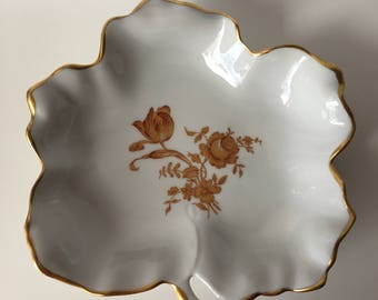 White and Gold Limoges Leaf Dish