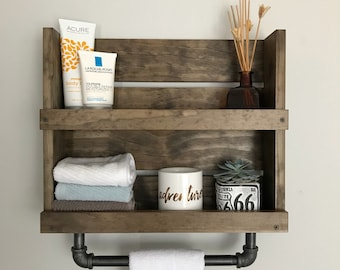 Shelf with towel bar for rustic bathroom, Industrial bathroom shelf, Bathroom shelf, Bathroom storage, Industrial Shelf with towel hardware