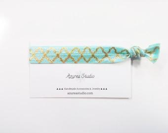 Spa Blue Gold Elegant Hair Tie