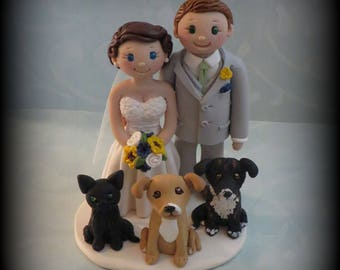 Wedding Cake Topper, Custom Wedding Topper, Bride and Groom, Three Pets, Personalized, Polymer Clay, Keepsake