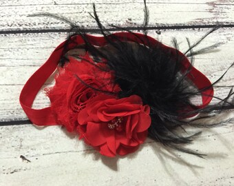 Christmas Baby Headband Red and Black Christmas Headband Flowers Headband Baby Headband Christmas Hair Bow Vintage Headband Holiday Headband