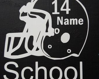 Football Helmet Name Decal