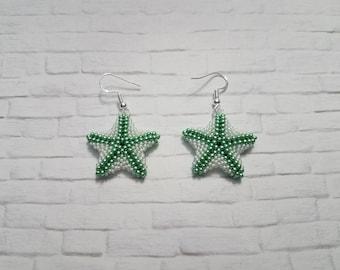 Starfish Earrings, Beaded Earrings, Beach Jewelry, Statement Earrings, Drop Earrings, Wedding Jewelry, Beach Wedding, Gifts For Her