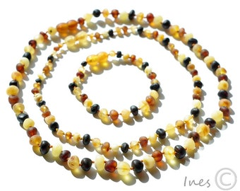 Set Of Raw Unpolished Multicolor Baltic Amber Baby Teething Necklace and Bracelet/Anklet and Mothers Necklace