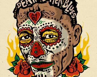 Son House - blues folk art sugar skull poster