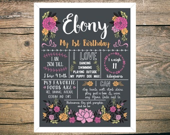 First Birthday Chalkboard Sign Poster - Girl - Digital / Printable - Bright Floral - Mexican - Fiesta theme