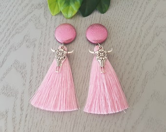 Pink Cowgirl Tassel Button Earrings - Hypo-Allergenic