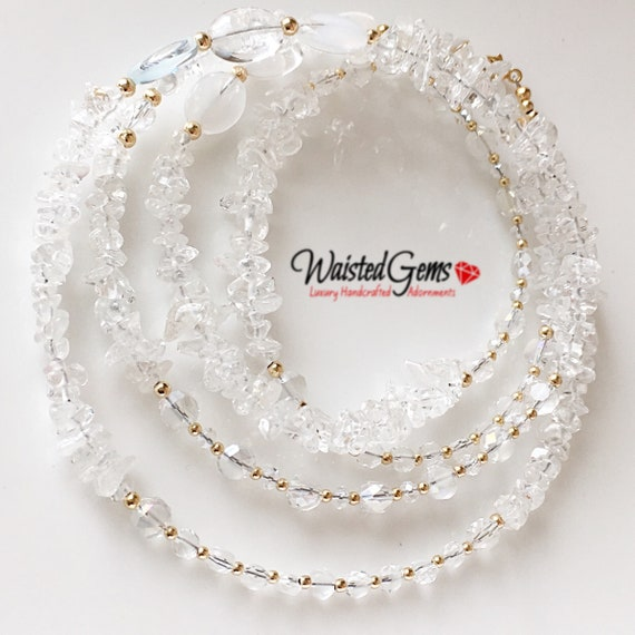 Crystal and 14k Gold Waist Beads, Wedding Gift, African Waist Beads, Waist Beads, 14k bead necklace, Waistbeads, gold waist beads,  zmw23114