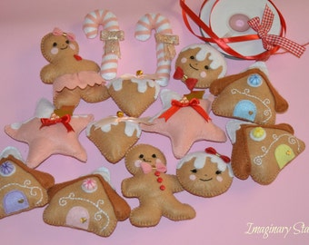 14 Felt ornaments for Christmas tree, Christmas decorations, felt figures,gingerbread ornaments, gift for Christmas