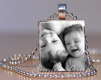 Photo Necklace - Mother's Day Gift - Picture Necklace - Memory Jewelry - Memory Necklace - Photo Jewelry - Scrabble Pendant with Chain