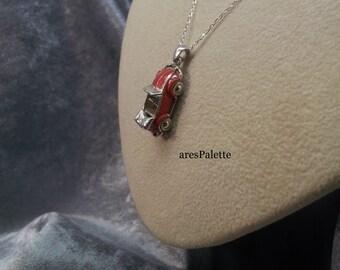 Red Volkswagen Beetle Cabriolet Necklace - 925 Silver Handmade