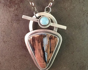25% Off Blue Forest Jasper and Aquamarine Cabochon Sterling Silver Toggle Necklace Pendant