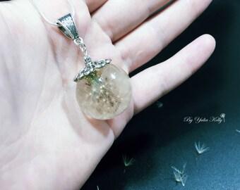 Dandelion Necklace, Wish Necklace, Real Dandelion Seed Necklace, Nature Necklace, Crystal Necklace, Real Dandelion, Terrarium dandelion