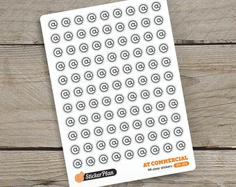 99 AT COMMERCIAL stickers, clear stickers, planner stickers, transparent stickers, Happy Planner, Erin Condren, Filofax (SPC-034)