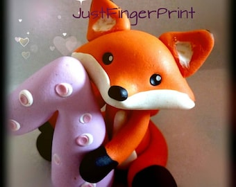 First Birthday cake topper - fox cake topper handmade with polymer clay - baby shower gift