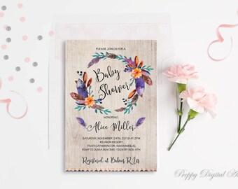 Floral Baby Shower Invitation Printable Boho Baby Shower Invite Bohemian Baby Shower Invite Tribal Baby Shower Invitation Rustic Baby Shower