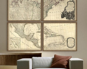 "Historical map of United States 1783 The first US map after independence, 6 sizes up to 72x60"" in 1 or 4 parts - Limited Edition of 100"