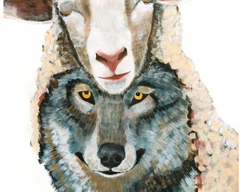 "38""x50"" Wolf in Sheep's Clothing Large scale PRINT of original painting by Natalie Wright"