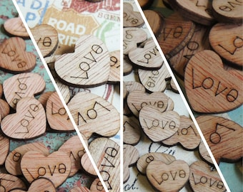 300 Love Wood Hearts, Wood Confetti Engraved Love Hearts- Rustic Wedding Decor- Table Decorations- Tiny Wooden Hearts
