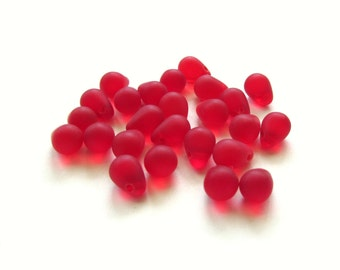 Smooth Matte Siam Ruby Red Czech Glass Teardrop Briolettes, 8mm x 6mm - 25 pieces
