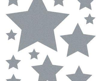 Textile sticker glitter stars