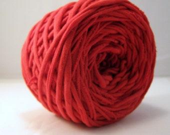 TShirt Yarn, T-shirt Yarn,  Hand Dyed, True Red, 60 Yards, Red T Shirt Yarn