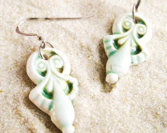 Porcelain Drop Earrings - White & Green Dangle Earrings - FREE SHIPPING