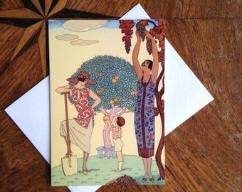 Fruit Harvest.  Stunning Art Deco Greeting Card with Georges Barbier Illustration.