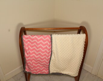 Pink Chevron Baby Blanket with crocheted boarder
