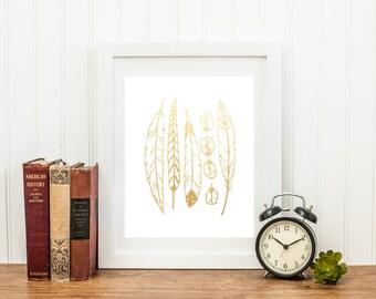 Gold Foil Tribal Feathers (8x10 or 5x7), Tribal Nursery, Tribal Print, Tribal Decorations, Gold Foil, Nursery Decor, Boy Room Decor