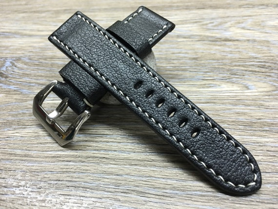 Leather watch band, leather watch strap, 24mm watch strap, Black watch band, 24mm watch band, 26mm strap, watch band, FREE SHIPPING