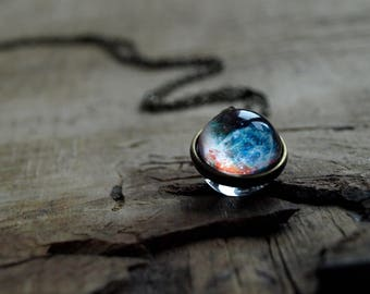 Nebula necklace,Thors helmet nebula jewelry,Space pendant,Galaxy necklace ,Galaxy pendant,Glass dome necklace,Gift for Her,Universe pendant