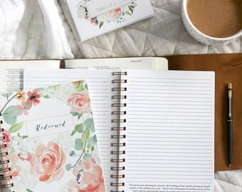 Redeemed Journal / Lined Christian Journal / Faith Journal / Scripture Journal / Floral Notebook