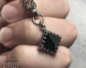 Pyramid Necklace. Black Onyx Pendant. Unique Gift for Bridesmaid Rock and Roll Wedding. As Seen on Arrow!