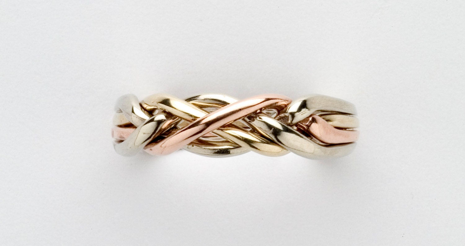 Ladies 4 Band Puzzle Ring in Sterling Silver Gold or