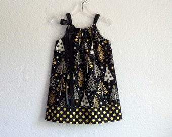 Girls Black and Metallic Gold Christmas Dress - Gold and White Christmas Trees on Black - Holiday Party Dress - Size 12M, 18M, 2T, 3T, or 4
