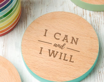 I Can And I Will Motivational Quote Drinks Coaster