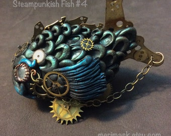 Steampunkish Fish #4 sculpted figurine ...sculpey polymer clay goldfish koi steampunk clockwork sculpture numbered collectible