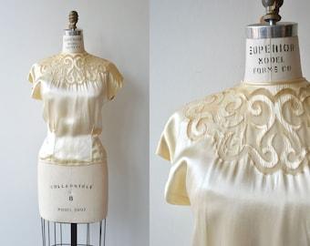 French Curve blouse | vintage 1940s silk blouse | cutout 40s blouse