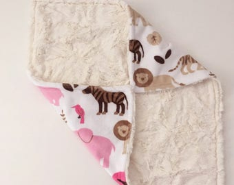 Minky Lovey Minky Security Blanket Lovey Blanket Lovee Cuddly Marble Minky and Animal Print Gift Shower Gift Ready to Ship