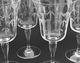 Stemmed Crystal Barware 4 Bamboo Etched Wine Glasses Vintage Oriental / Asian Stemware