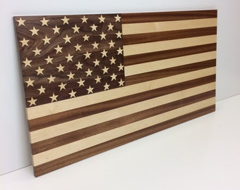 American Flag made of solid hardwoods