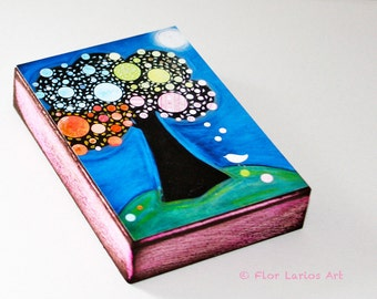 Arbol Nocturno- Tree ACEO Giclee print mounted on Wood (2.5 x 3.5 inches) Folk Art  by FLOR LARIOS