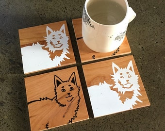 Kitty Cat Coasters, Wood Coasters, Cat Gift, Housewarming Gift, Gift for Mom