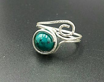 Chrysocolla Azurite ring, gemstone ring, beaded ring, wire wrapped ring, wire ring, Azurite gemstone, green ring, blue ring, wire jewelry