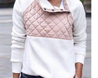 Quilted Fleece pullover with free 3-initial monogram