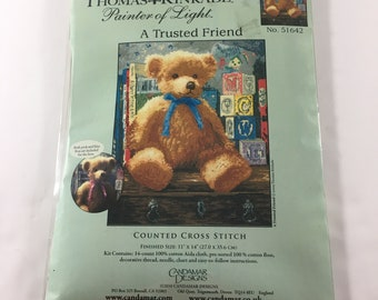 Thomas Kinkade Painter of Light A Trusted Friend 51642 Teddy Bear Counted Cross Stitch Kit Nursery Decor Boy or Girl